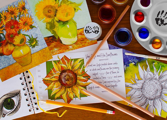 Mind 'n' Muse art box contents are full of mindful creativity with art journal, sunflower images, colored pencils, liquid watercolor paints