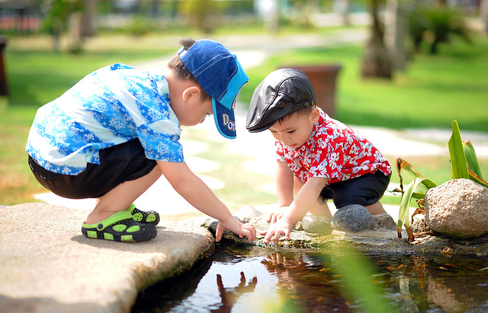 Two young boys collecting rocks from a pond.