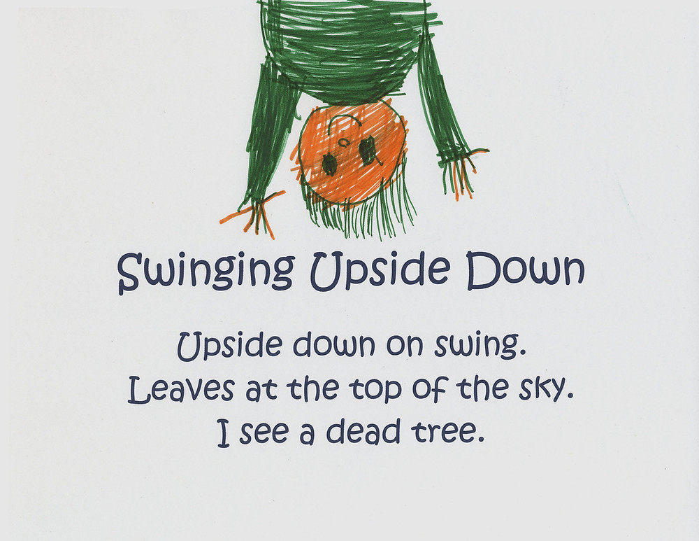 Marker drawing of child hanging upside down with a haiku poem below