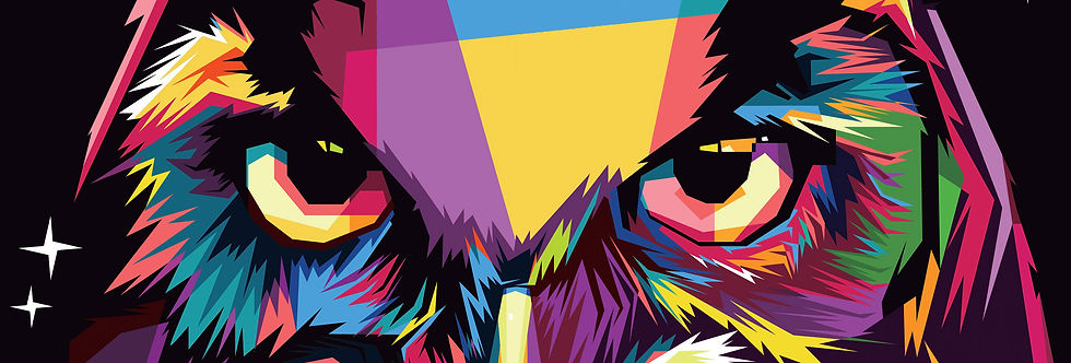 An owl head composed of colorful geometric shapes to inspire creativity.