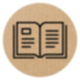 black icon of open book within cardboard circle links to Adventure Guide