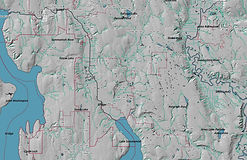 Lake Washington School District - Hillshade, Water, and City Lines