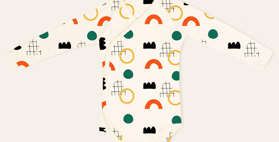 Primary Geometry kimono onesie full sleeves