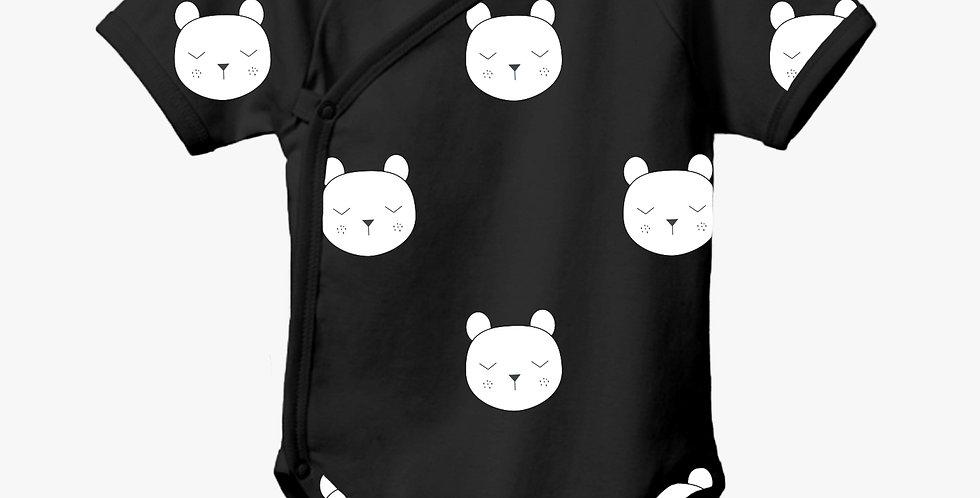Babbles bear kimono onesie (black)