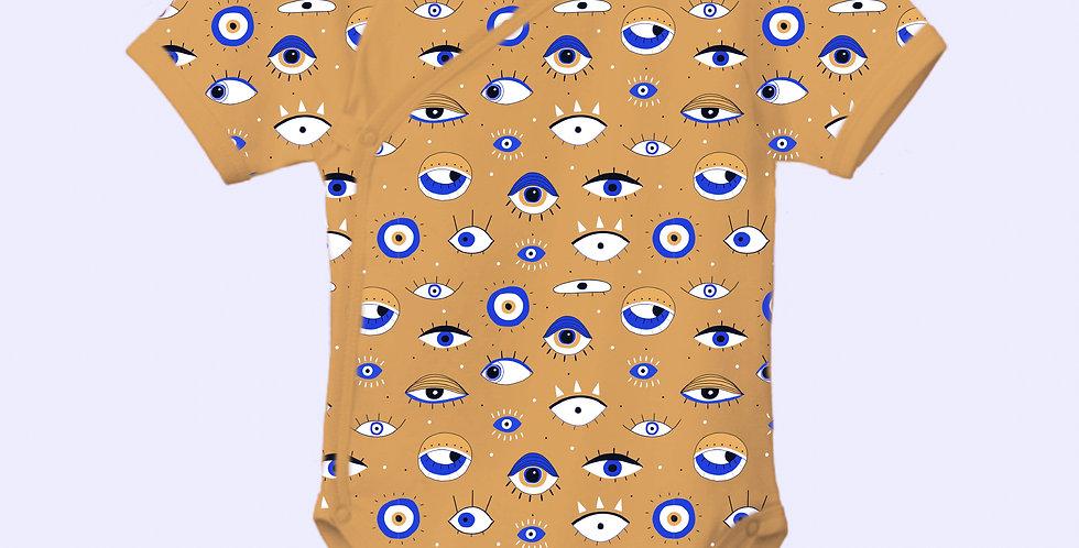 Eye of awareness kimono onesie (mustard)