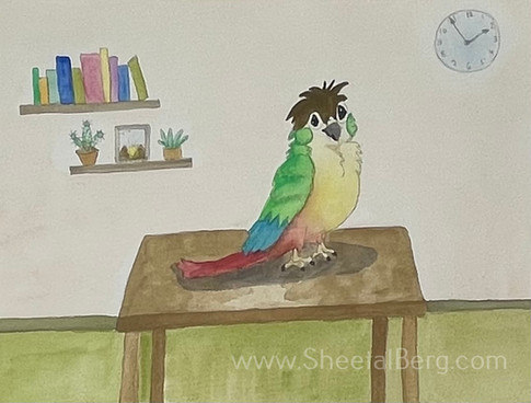 Owl with parrot colors