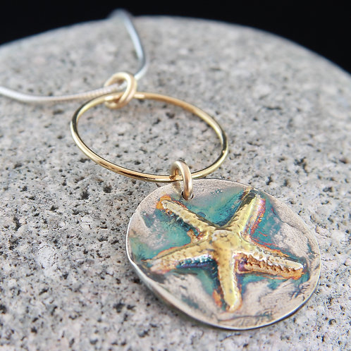 Gold and Silver Starfish Necklace   18""