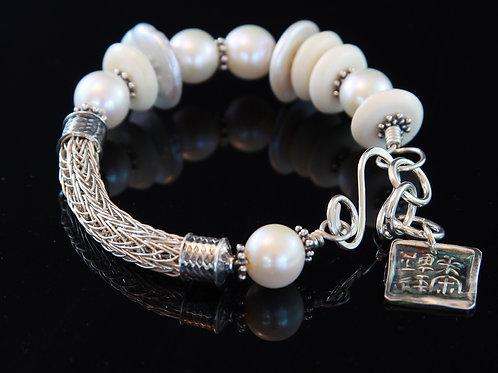 Weaving in Pearls Bracelet