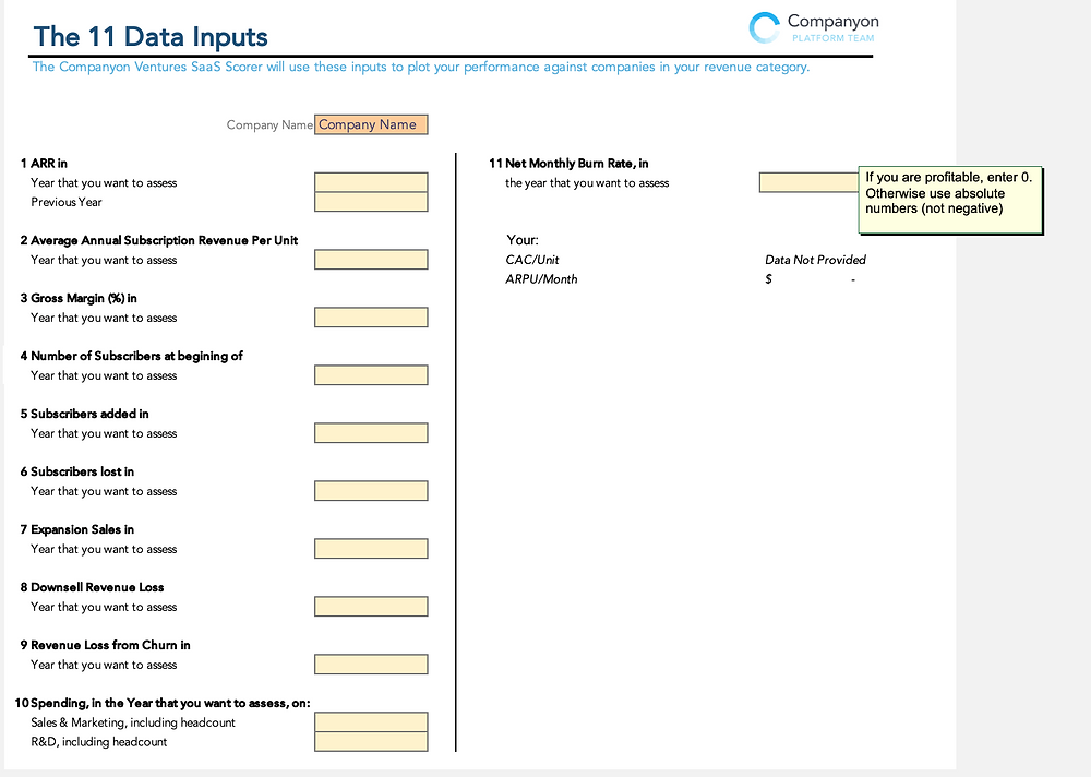 Data Input Tab Screenshot