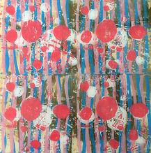 Pink circles, linocut , resin, 210.00