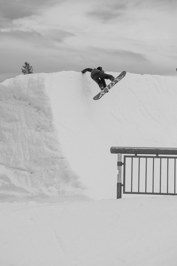 Cam Spalding with a Frontside Plant on the Mammoth Quarterpipe