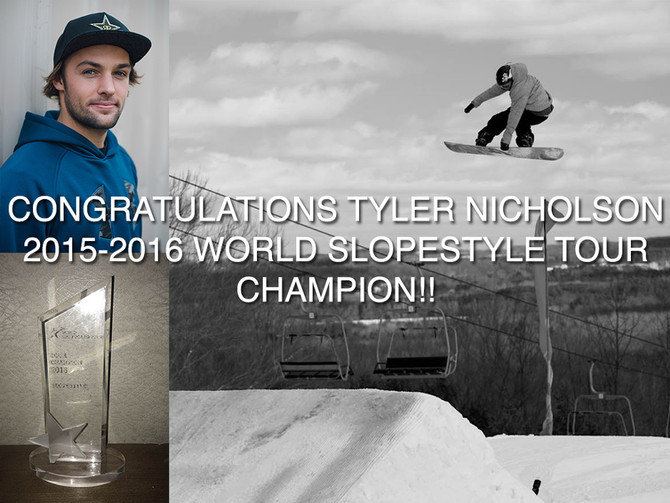 Tyler Nicholson is the 2015-16 World Snowboard Slopestyle Tour Champion!