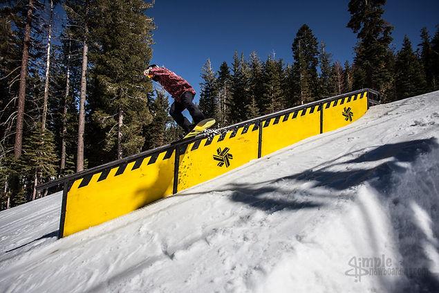 senders society snowboading camp and coaching devon jack boardslide at northstar