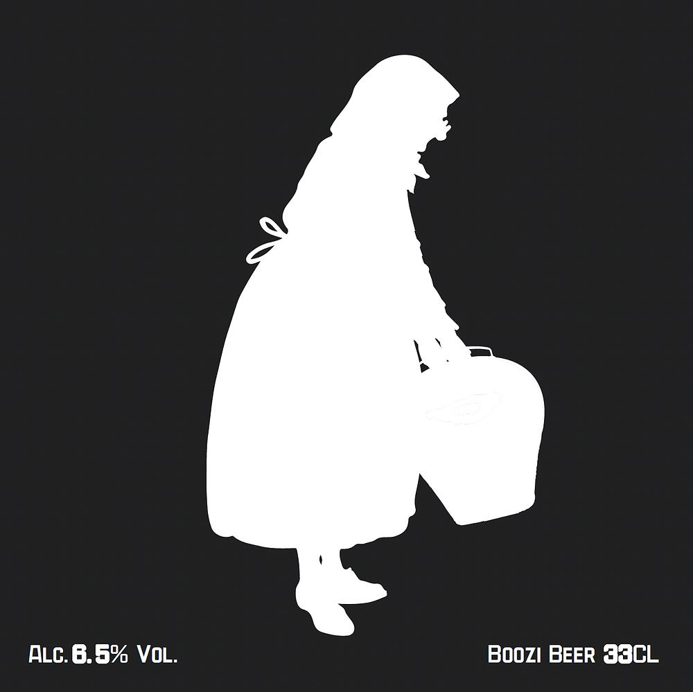 Die Hauptetikette vorne auf der Flasche zeigt, passend zum Namen, einen als alte Frau verkleideten Trychler. Diese Akteure auf den dunklen Strassen der Haslitaler Gemeinden werden Boozi genannt.