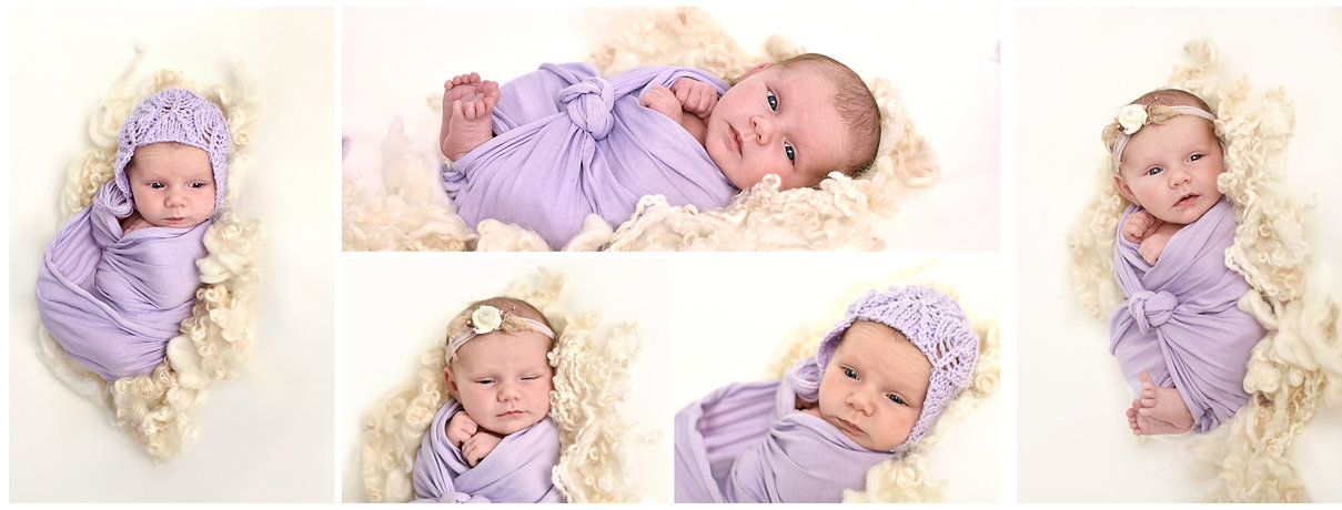 Collage photograph with 5 images for newborn baby girl by Hull and East Yorkshire Newborn photographer