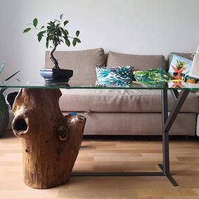 table basse bois/metal