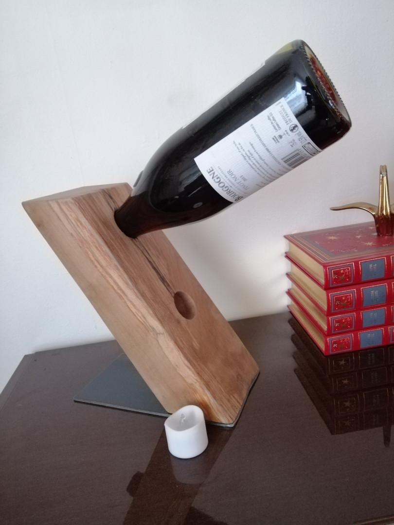 porte bouteille bois/metal brut