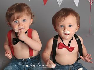 Tyndall AFB Baby Photographer | Bennett and Ryan's Cake Smash