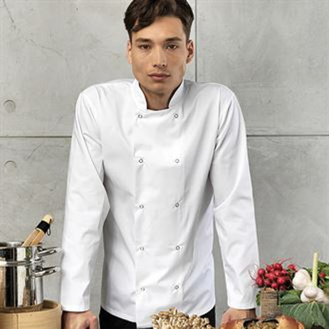 PR665 Studded front long sleeve chef's jacket