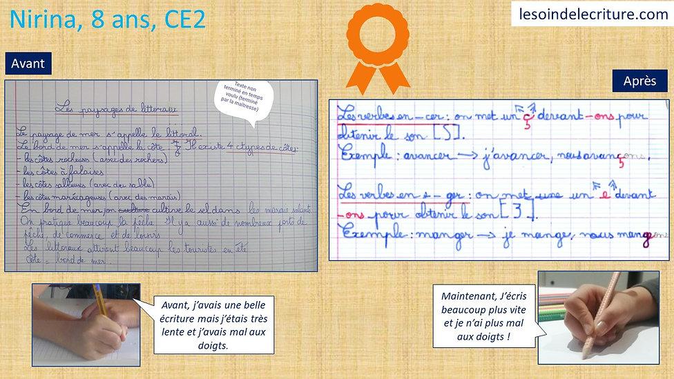 Diplôme Nirina rééducation écriture avan
