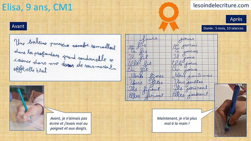 Diplôme Elisa graphothérapie rééducation
