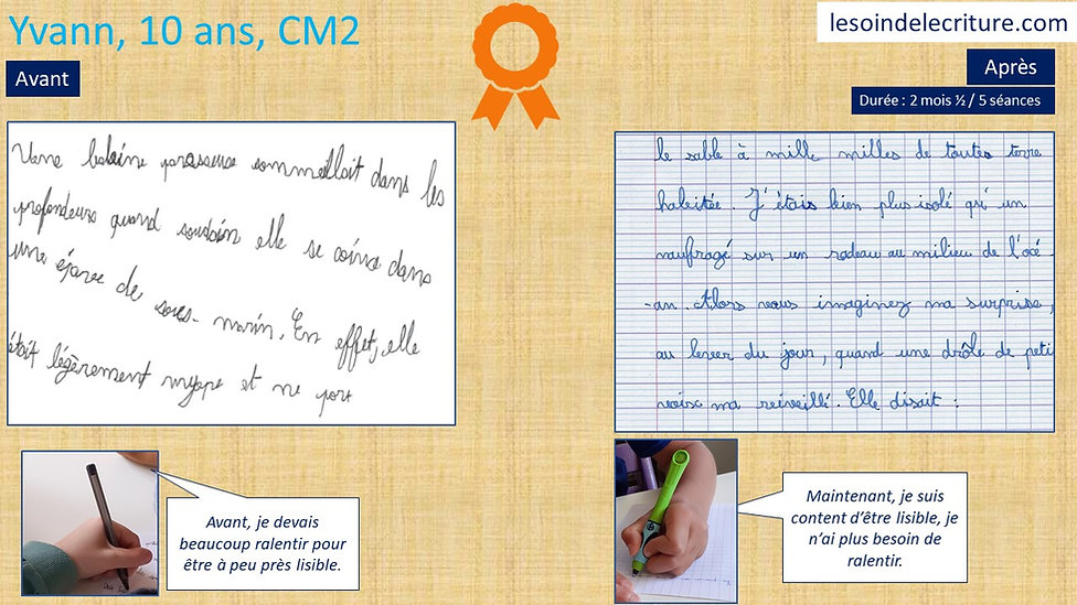 Rééducaton écriture graphothérapie diplôme Yvann