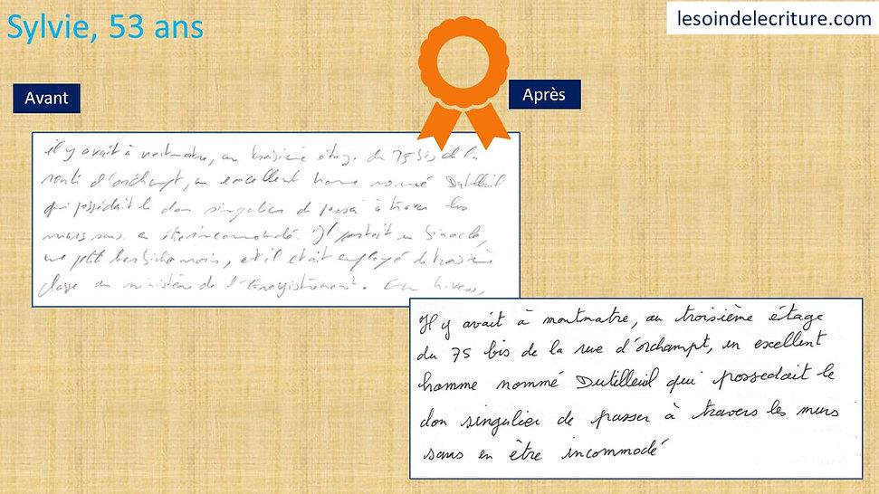Diplôme Sylvie rééducation écriture avan