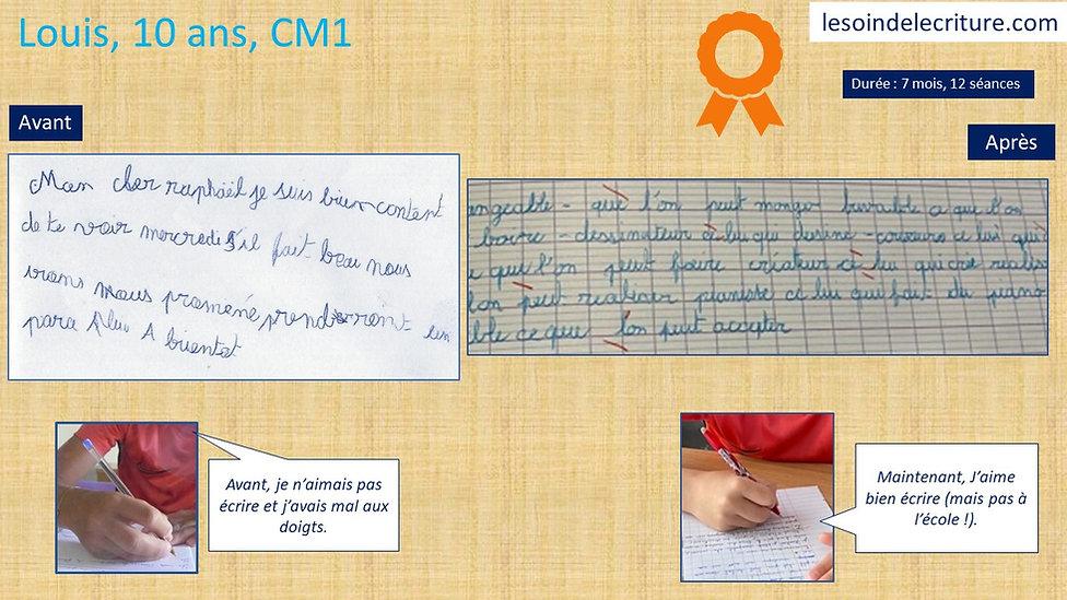 Diplôme Louis rééducation écriture graph