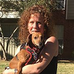 Carolyn Evartt, MA, LPC Counselor with Therapy Dog at Hillside Counseling