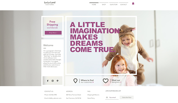 Online Store website templates – Kids Costume Store
