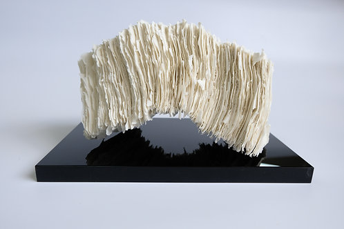 Stack freestanding porcelain artwork with glass base by sara dodd