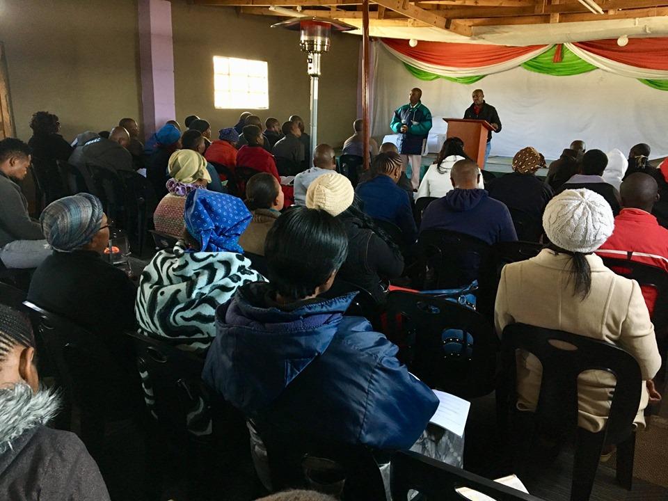 Pastor Ntjana Henry Khoabane teaching on reaching your nation with the gospel. — in Maseru, Lesotho.
