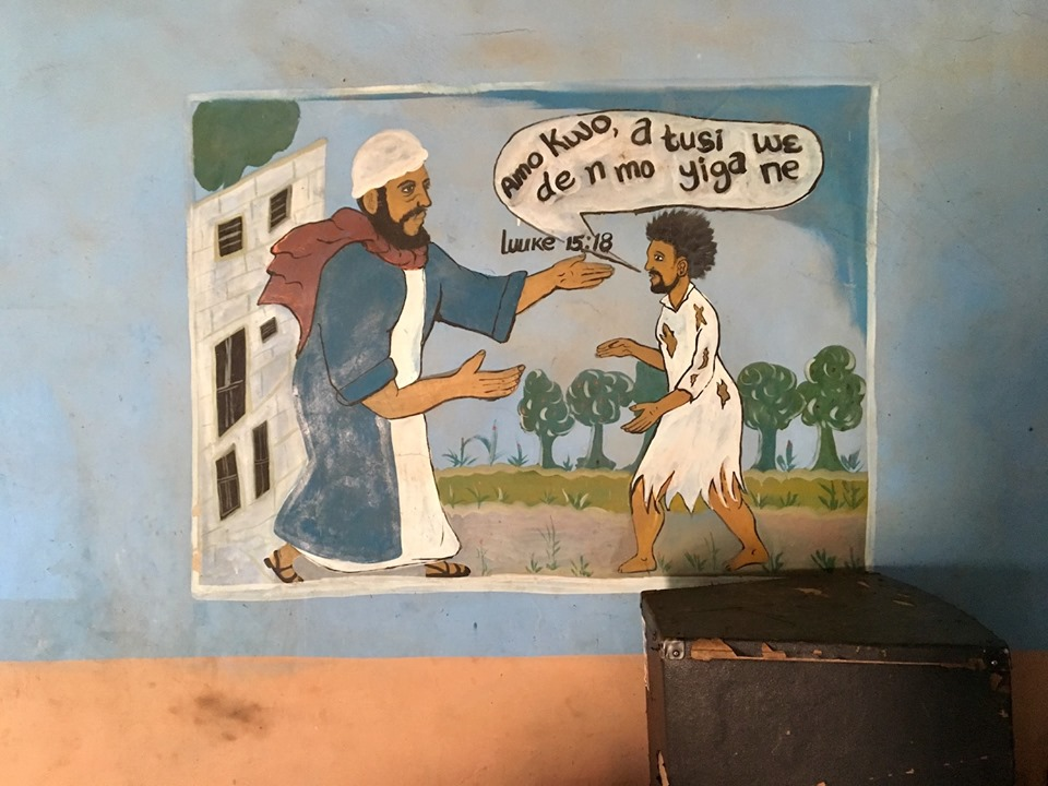 And more of the art painted on the church walls. This one is the Prodigal Son. — in Chiana Asunia, Upper East, Ghana.