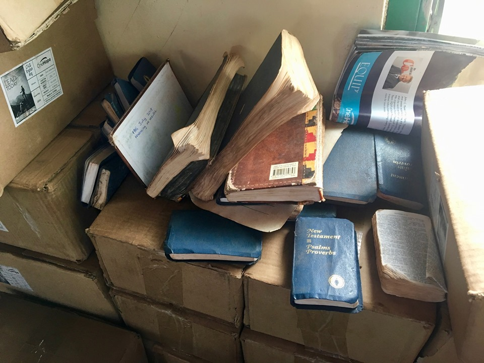 Some very experienced Bibles in the back of the church. — in Walewale, Northern, Ghana.