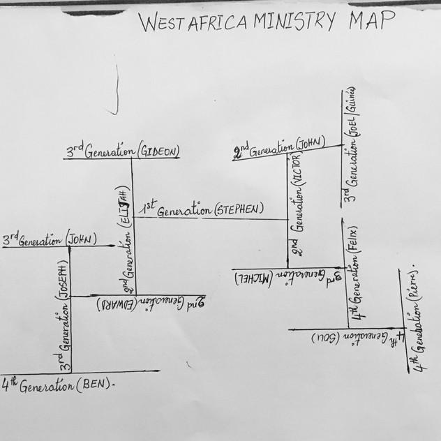 Stephen Aputara's (West Africa Director) Ministry Map of leadership