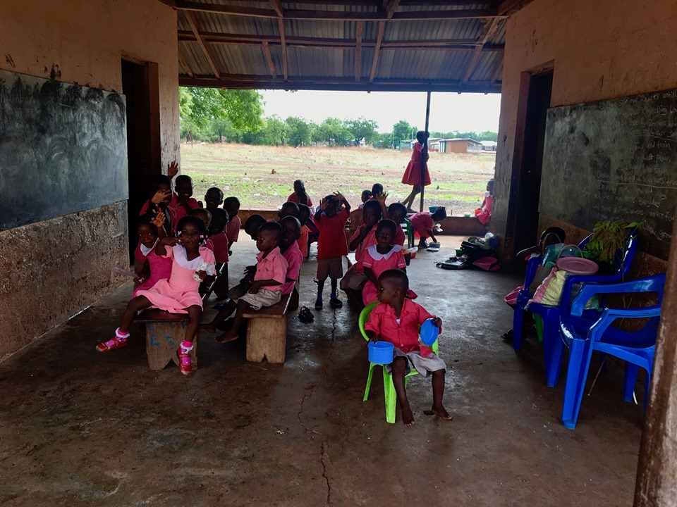 A small classroom next to the meeting hall with some precious little ones who were practicing their counting. — in Walewale, Northern, Ghana.