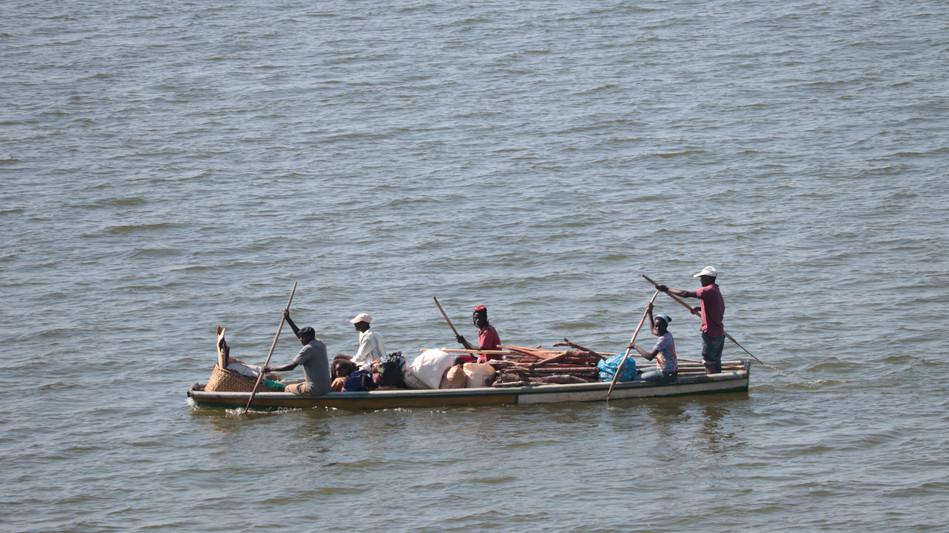 Hauling goods across Lake Bangweulu