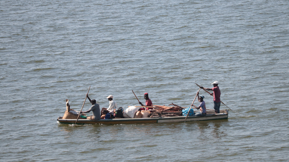 Hauling goods across Lake Bangweulu