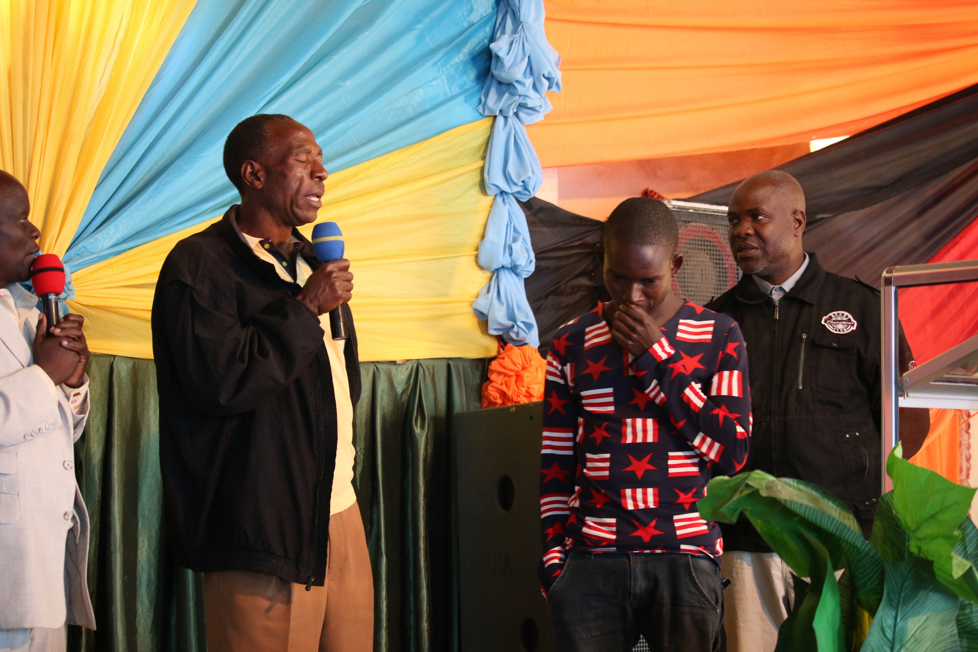 Pastors sharing testimonies of the previous day's time of evangelism in their neighborhoods