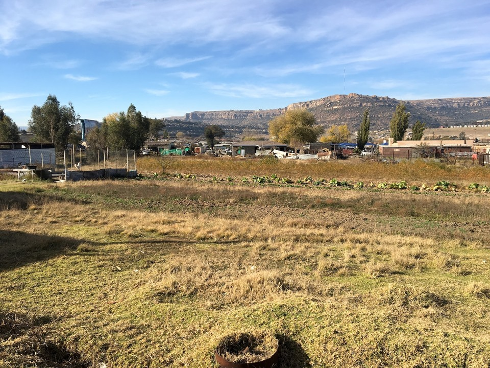 Behind the church view. You can see cabbage growing and a rooster (who was crowing at the time). — in Maseru, Lesotho.