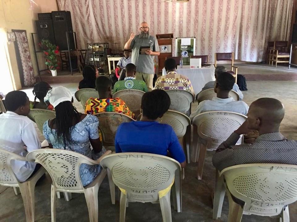 Me teaching (and sweating). Dang it's hot & humid! — in Sandema Balansa, Upper East, Ghana.