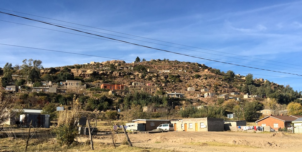 More houses built into the hillside. Very common here. — in Maseru, Lesotho.