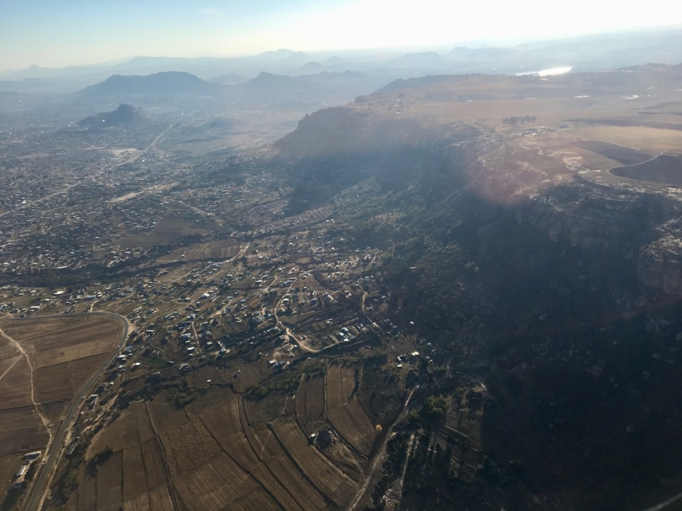 Coming in for a landing in Maseru, Lesotho from Johannesburg, South Africa. — in Maseru, Lesotho.