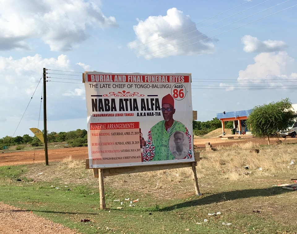 An advertisement for the funeral of a local chief. — in Ghana.
