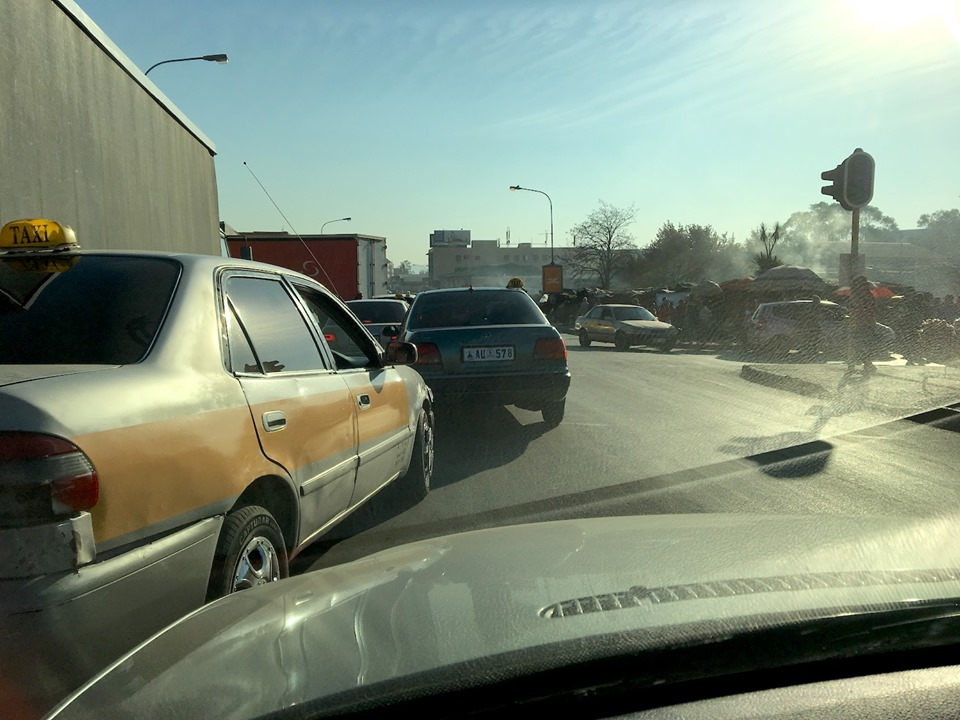 """Traffic... Ugh. And taxis! UGH! A good friend always says: """"Taxi drivers all have the same mother - no matter what country they are in!"""" — in Maseru, Lesotho."""
