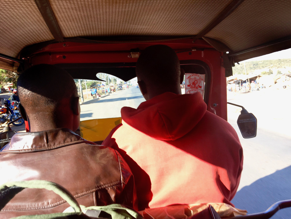 Riding the Bajaje on the way to our area of focus for evangelism
