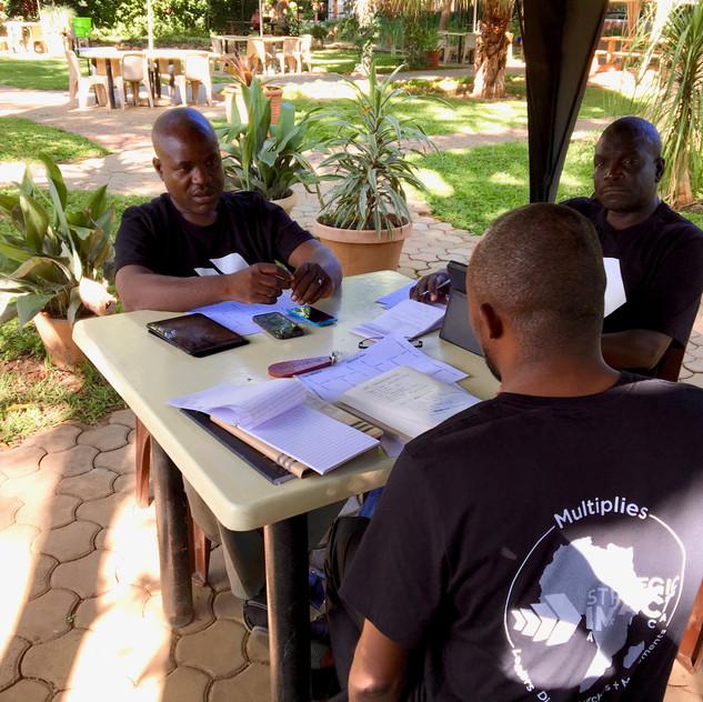 Sub-Saharan SE Sub-Region Team making plans for the year.  Sainet Phiri (Zambia),  Dennis Sitali (Zambia), Francis Kaluba Ngosa (Zambia)