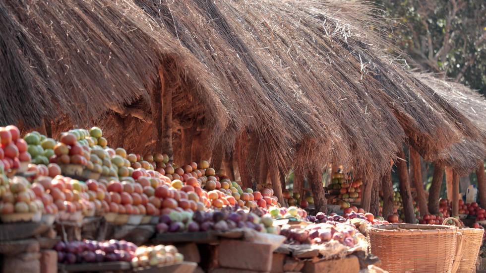 Fruit stand by the road near the church