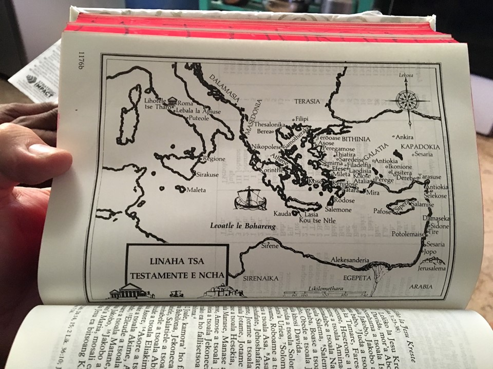 New Testament map from a Bible in Sesotho language. — in Maseru, Lesotho.