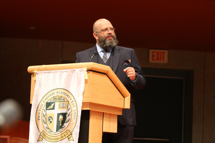 Delivering the commencement address for Denton Calvary Academy